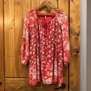 Free People Red Floral Tunic Blouse